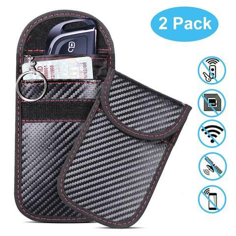 2 Packs Faraday Bags, AGPtEK Car Key Fob Case, Car RFID Signal Blocking, Anti-Theft Pouch, Anti-Hacking Case Blocker, Ca