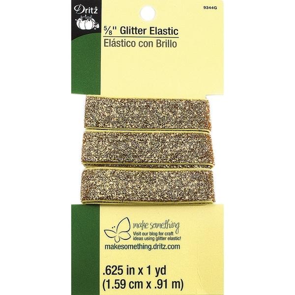 "Glitter Elastic 5/8""X1yd-Gold - GOLD"