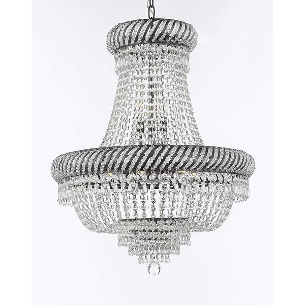 French Empire Crystal Chandelier Lighting With Dark Antique Finish