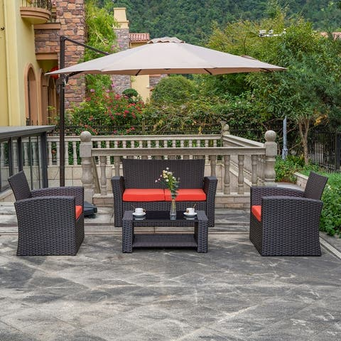 Grandview Outdoor 4-piece Chocolate Wicker Conversation Set with Cushions