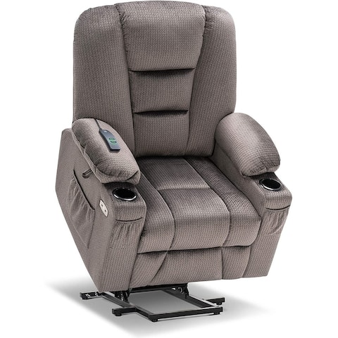 Mcombo Electric Power Lift Recliner Chair with Massage and Heat for Elderly, Extended Footrest, USB Ports, Fabric 7529