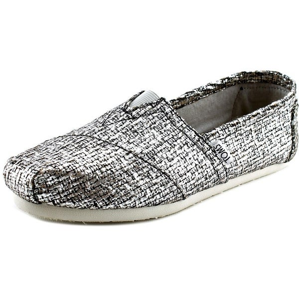 Toms Classic Women Round Toe Canvas Silver Loafer