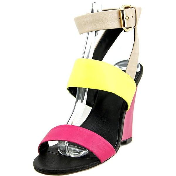 Nicole Miller Wiley Women Open Toe Leather Wedge Sandal
