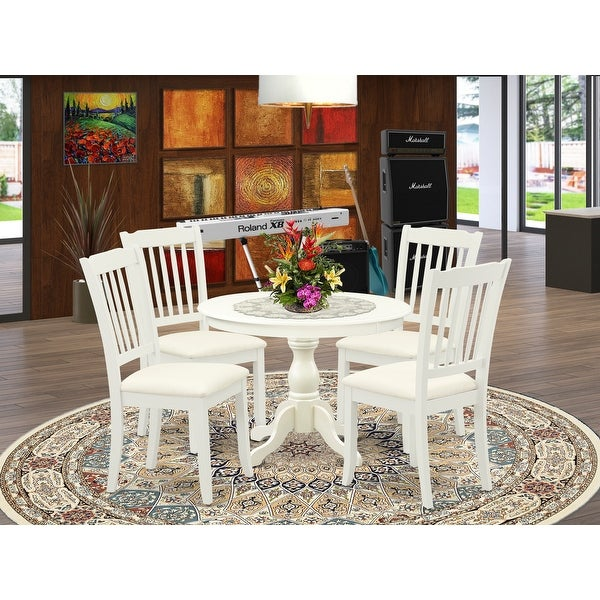5 Piece Kitchen Set Consist Of Round Dining Table With 4 Dining Room Chairs Color Option Available Overstock 33559766