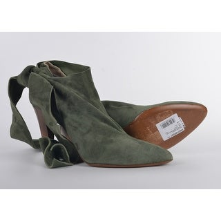 Roberto Cavalli Green Suede Bow Ankle Strap Bootie