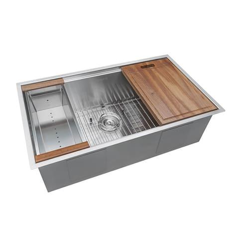 Ruvati 32-inch Workstation Ledge Undermount 16 Gauge Stainless Steel Kitchen Sink Single Bowl - RVH8301 - 30-1/2? x 16?