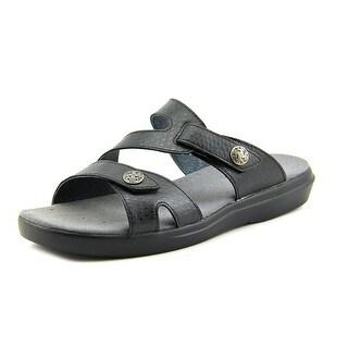 Propet St. Lucia Women Open Toe Leather Black Slides Sandal