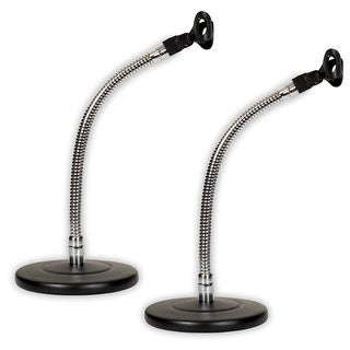 Podium Pro MS3 Tabletop Microphone Stands and Mic Clips Gooseneck DJ Podcast 2 Stand Set MS3MC2-2S