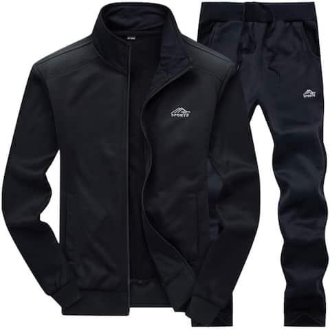 Men's Tracksuit Set Full Zip Long Sleeve Jogging Running Sweatsuits(Sweatshirt&Pant