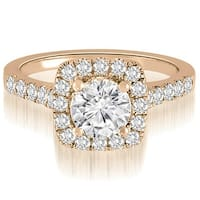 0.87 CT.TW Halo Round Cut Diamond Engagement Ring - White H-I