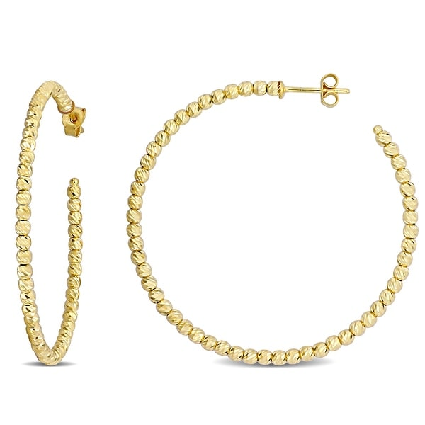 Miadora 18k Yellow Gold Diamond-cut Beaded Hoop Earrings. Opens flyout.