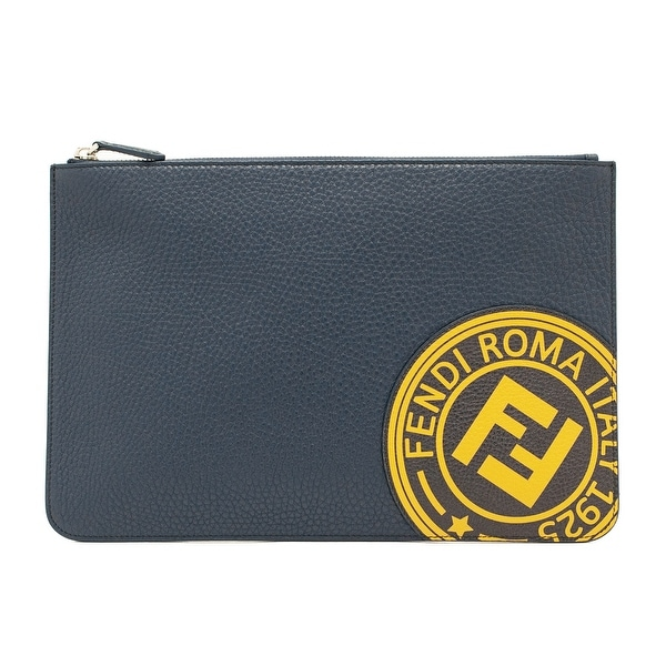 5b0d122d2b Shop Fendi Men's Leather Flat Pouch Clutch Bag Blue - No Size - Free ...