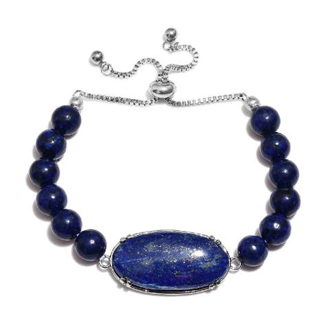 Shop LC Stainless Steel Lapis Lazuli Bolo Bracelet Ct 66.4
