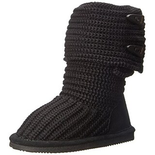 Bearpaw Girls Fold-Over Cable Knit Casual Boots - 1 medium (b,m)
