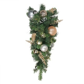 """32"""" Rose Gold and Silver Ball Ornament Pine Artificial Christmas Teardrop Swag - Unlit"""