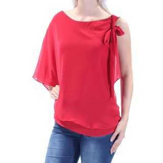 Womens Red Sleeveless Boat Neck Casual Tiered Top Size 8