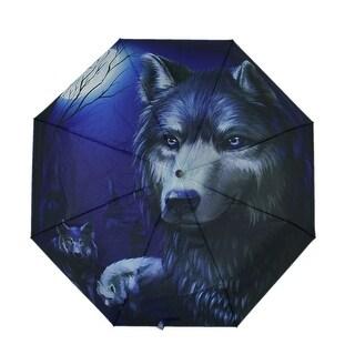 Dark Blue Wolves In Moonlight 39 Inch Mini Travel Umbrella