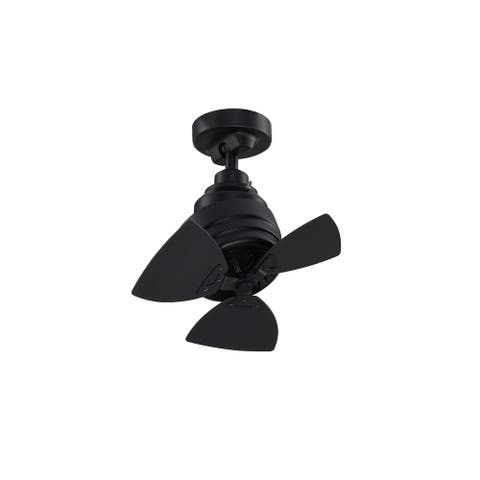 Rotation 19 inch Indoor/Outdoor Ceiling Fan with Black Blades - Black