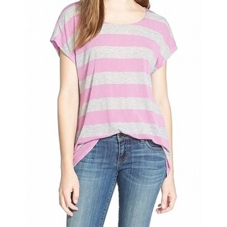 Gibson NEW Purple Gray Heather Women's Size XS Stripe Ribbed Knit Top
