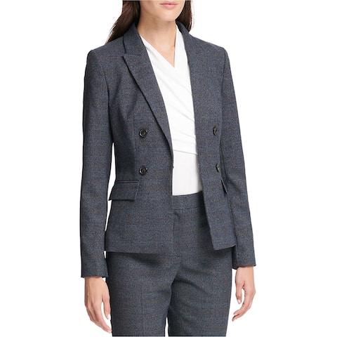 Dkny Womens Plaid Double Breasted Blazer Jacket