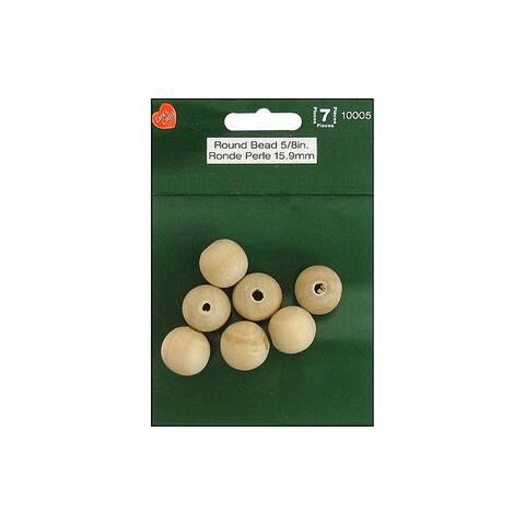 "Lara's Wood Pkg Round Bead 5/8"" 7pc"