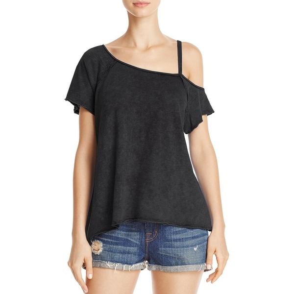4da798103d72 Shop Free People Womens Coraline T-Shirt Asymmetric Cold Shoulder ...