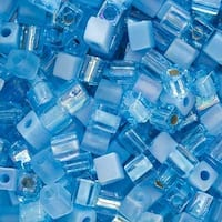 Miyuki 4mm Glass Cube Bead Mix Aqua Medley Blue 10 Grams