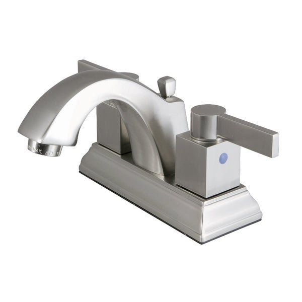 Kingston Brass FSC464.NQL Meridian 1.2 GPM Centerset Bathroom Faucet with Pop-Up Drain Assembly and Metal handles