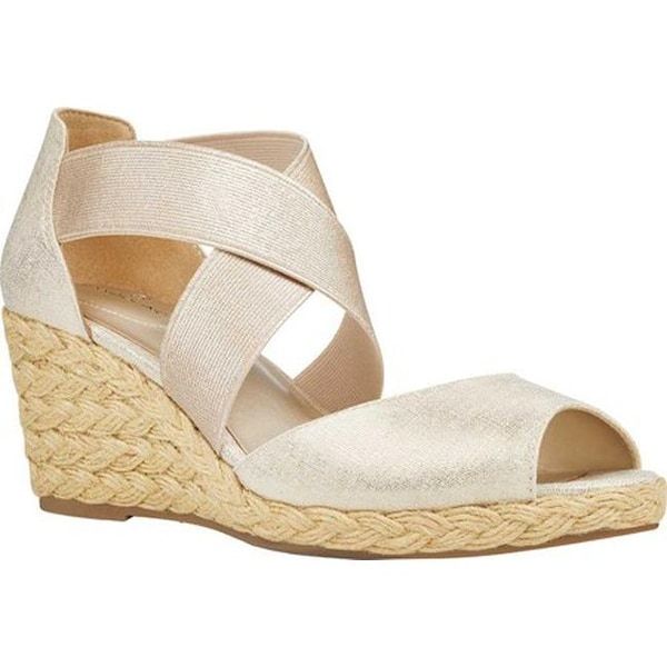 07cdc96a7e Bandolino Women's Hullen Wedge Gold Metallic Coated Linen /Metallic  Elastic