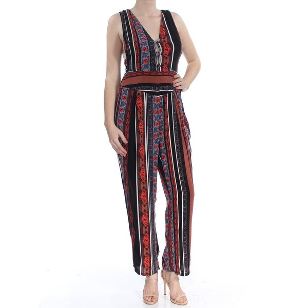 Free People Womens All Shook Up Printed Sleeveless Jumpsuit