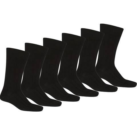 12 Pack of Uni Style Apparel Men Black Solid Plain Dress Socks