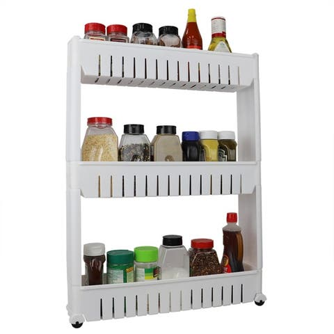 3 Tier Plastic Storage Tower with Wheels, White