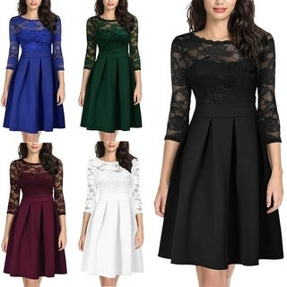 Women's Lace Dress Round Neck Long Sleeves O-Neck Vintage Floral Wedding Prom Cocktail A-Line Swing Midi Dresses