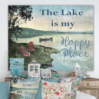 Designart 'The Lake is My Happy Place' Lake House Canvas Wall Art