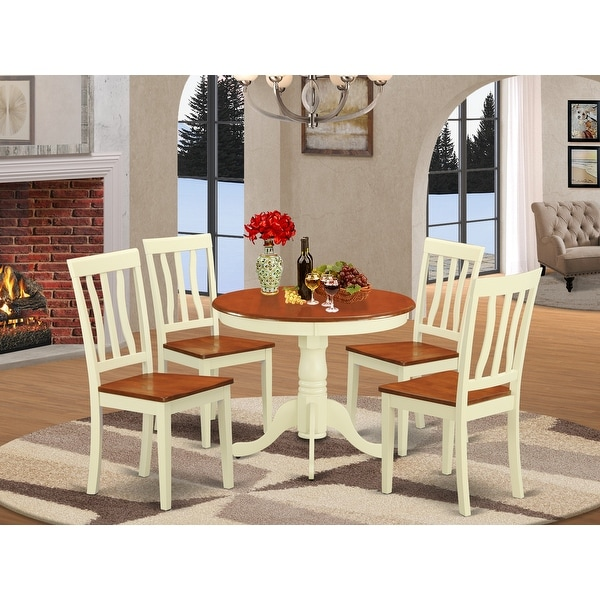 Copper Grove Sedgman Buttermilk and Cherry Kitchen Table and Chair 5-piece Dining Set. Opens flyout.