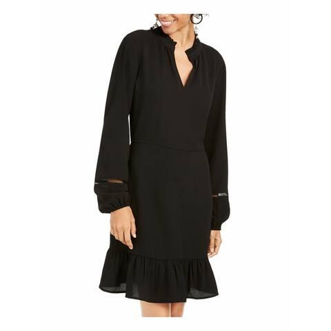 Be Bop Dress Black Size XL Junior A-Line Crochet Sleeve Ruffle Hem