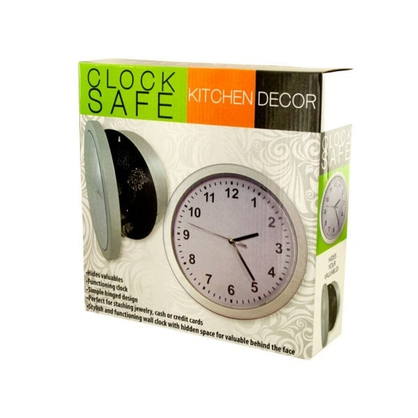 "9.75"" White and Black Kitchen Wall Clock with Hidden Safe - N/A"