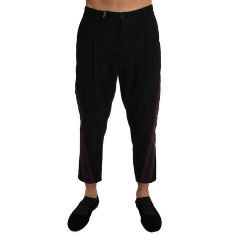 Dolce & Gabbana Black Cotton Blue Stripe Stretch Trousers Men's Pants - w34