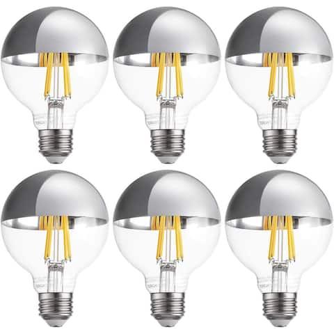 G25 Half Chrome Light Bulb, 7W Dimmable LED, 6 Pack - Warm White