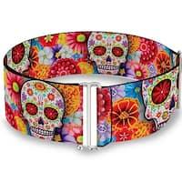 Sugar Skull Starburst White Multi Color Cinch Waist Belt   ONE SIZE