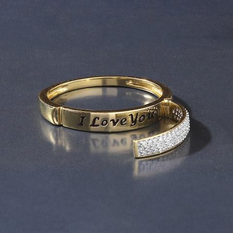 De Couer IGI Certified 10k Yellow Gold 1/6ct TDW Diamond Say It Ring