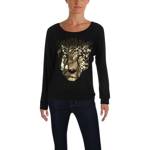 Aqua Womens Leopard Pullover Sweater Metallic Foil Graphic