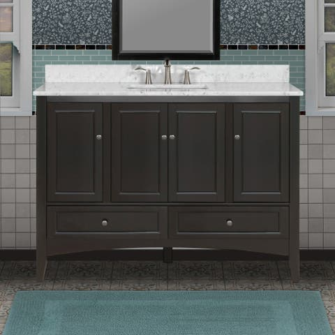 "Miseno MVBEWC4821 Modeno 48"" Free Standing Vanity Set with Wood Cabinet, Natural Stone Top, and Undermount Sink - Mirror Sold"