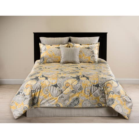Kippling charcoal grey paisley on yellow comforter set