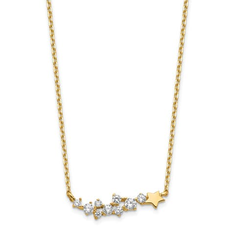 14K Yellow Gold Shooting Star with 1-inch Extension Cubic Zirconia Necklace by Versil