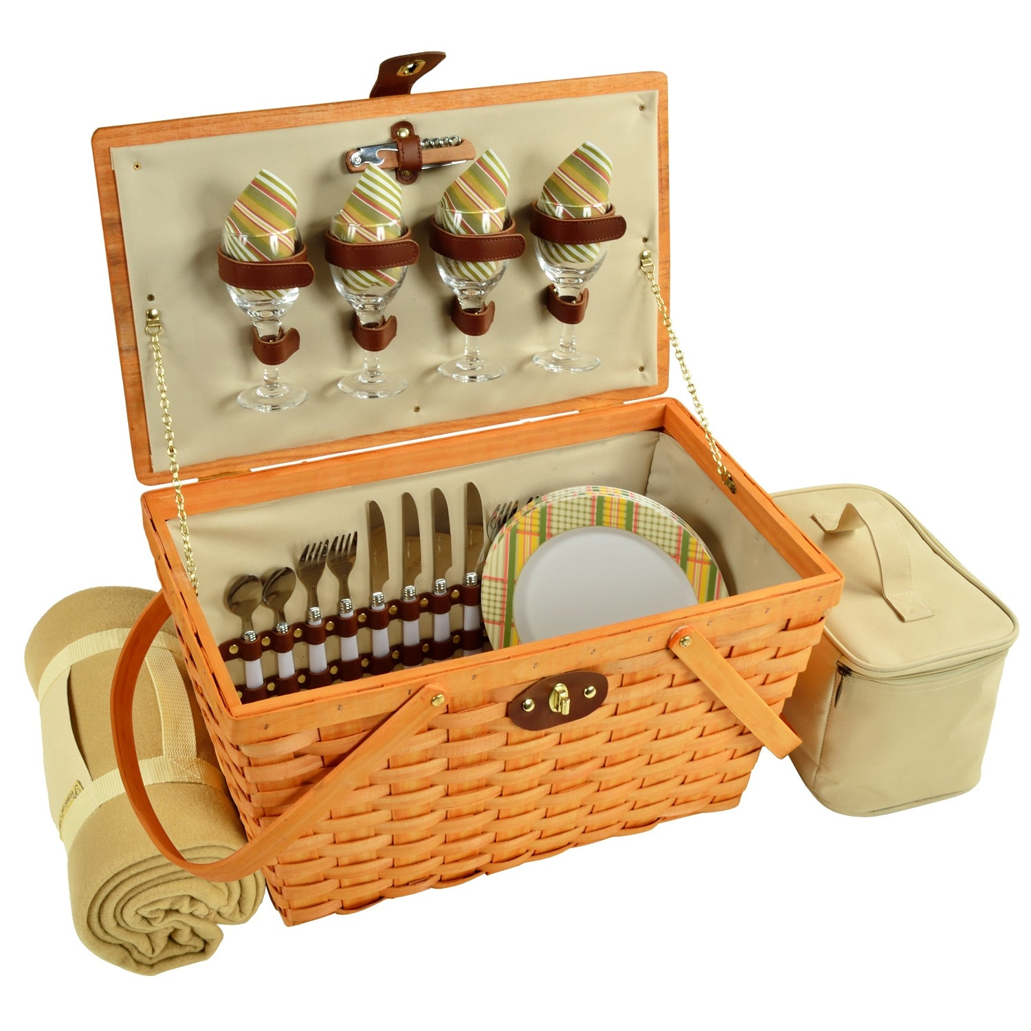 Picnic At Ascot Settler Traditional American Style Picnic Basket For 4 W Blanket Hamptons 717hb H Overstock 18904617