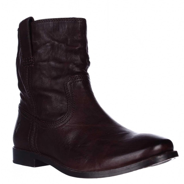 FRYE Anna Shortie Flat Boots, Dark Brown - 5.5 us