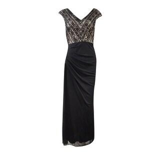 Alex Evenings Women's Petite V-Neck Beaded Lace Chiffon Gown - 14P