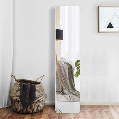 Full Length Floor Mirror with Standing Holder & Solid Wood Frame for Home / Office