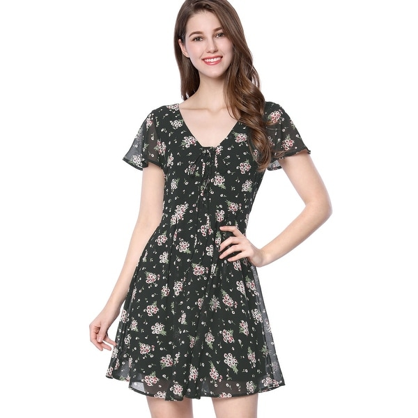 Allegra K Women Floral Lace-up V-neck Chiffon A-line Dress